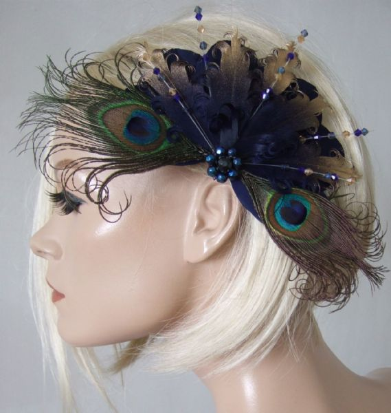"Bridal Navy Gold Goose Nagoire and Peacock Feathers with Crystals ""Eilish"" Fascinator Clip"